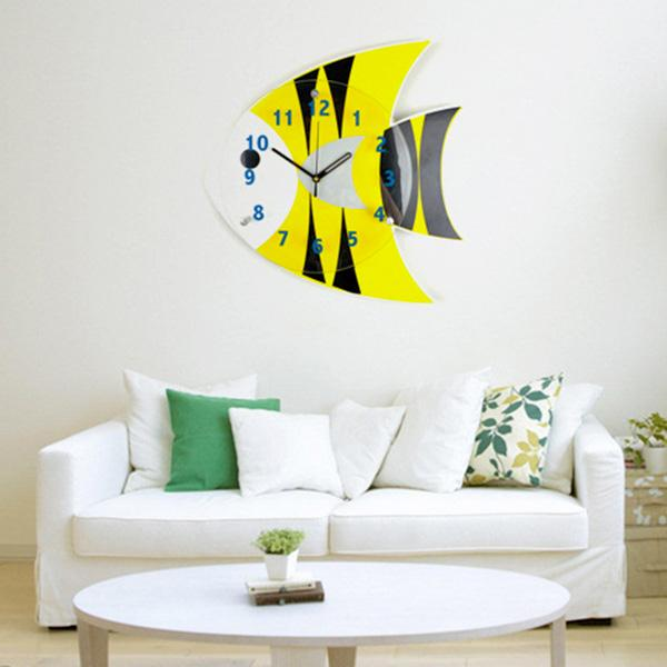Marvelous Cute Cartoon Picture Wall Clock Yellow Fish Bedroom Wall Clock Creative  Fashion Living Room Watch Children Art Clocks Quiet Personality Cool Wall  Clocks ...