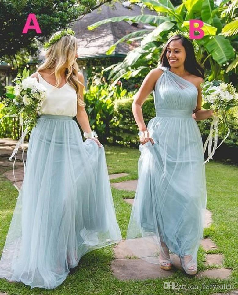 2017 Maxi Dusty Blue Tulle Bridesmaid Dresses One Shoulder