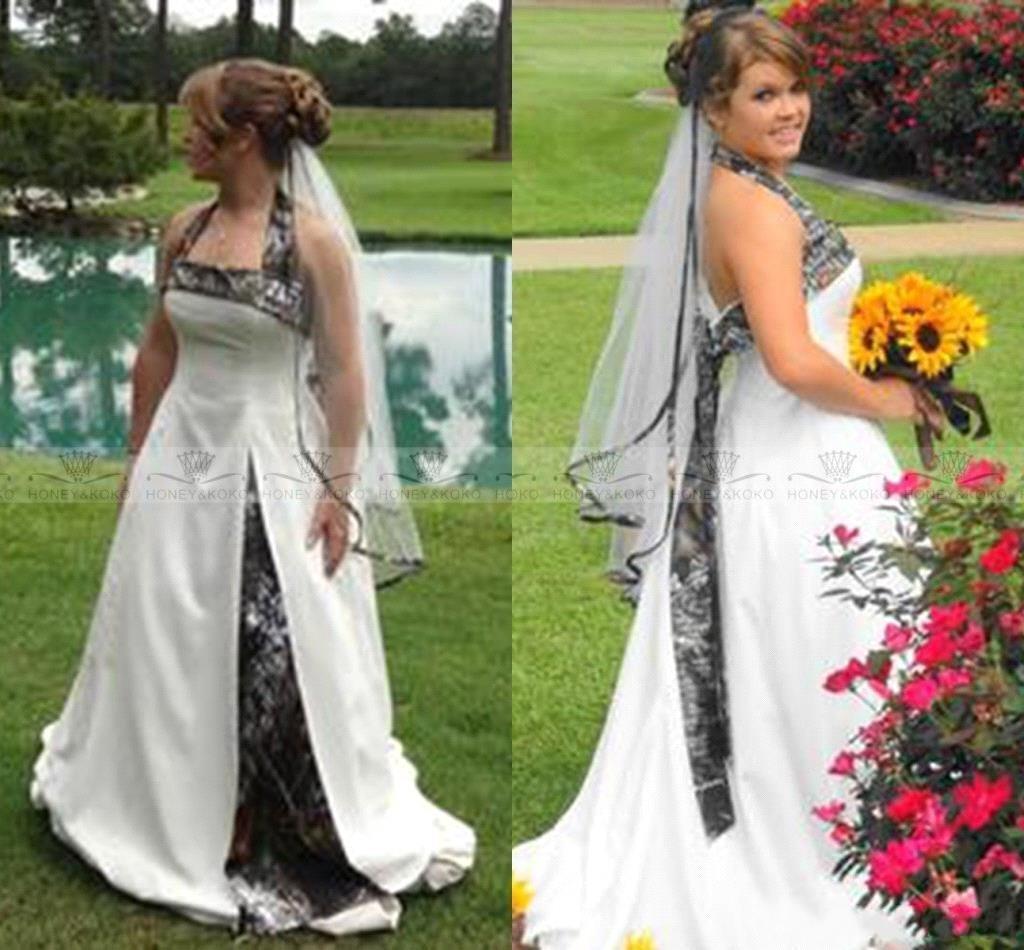 Discount Country Style Camo Wedding Dresses Halter A Line Sweep Train  Camouflage Satin Plus Size Wedding Bridal Gowns Custom Made 2017 Cheap  Beach Wedding ... 542e5e1e418c