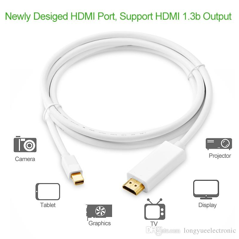 Thunderbolt Display Mini DP to HDMI Cable Male to Male Adapter for Macbook Pro Air Projector Camera TV Support 4K*2K 3D-1.8M