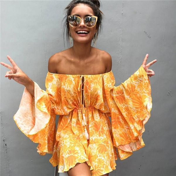 8ddc71cc9722 Sexy Off Shoulder Print Summer Dress Women Summer Slash Neck Beach Dresses  Boho Strap Yellow Short Dress Floral Club Dress Cheap Prom Dresses Cheap  Dresses ...
