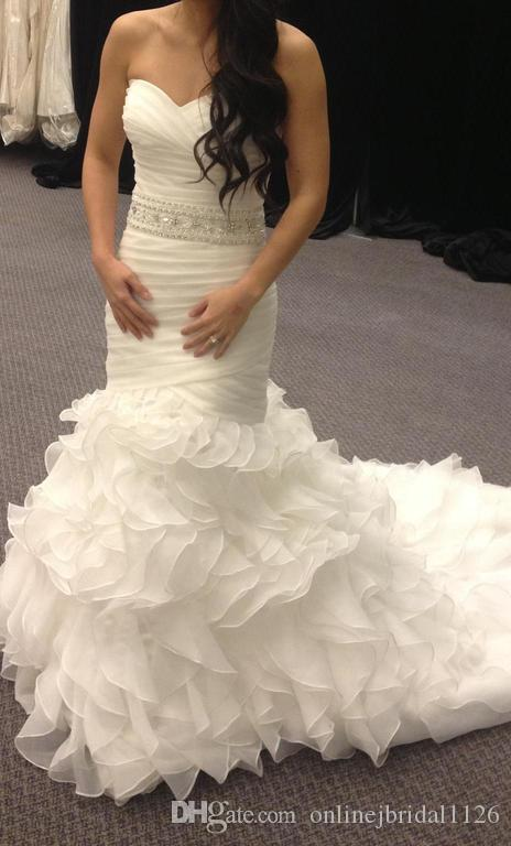 Real Made Usia Mermaid Sweetheart Dropped Waist Beaded Sash Pleated Ruffles Organza Bridal Gown Wedding Dress Robe De Marriage