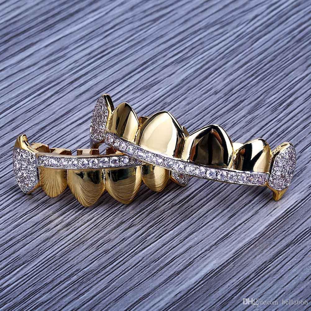 18K Real Gold Plated Women Men Copper Hiphop Grillz Cubic Zirconia Top Bottom Vampire Dental Teeth Grills Rapper Hip hop Fangs Jewelry Sets