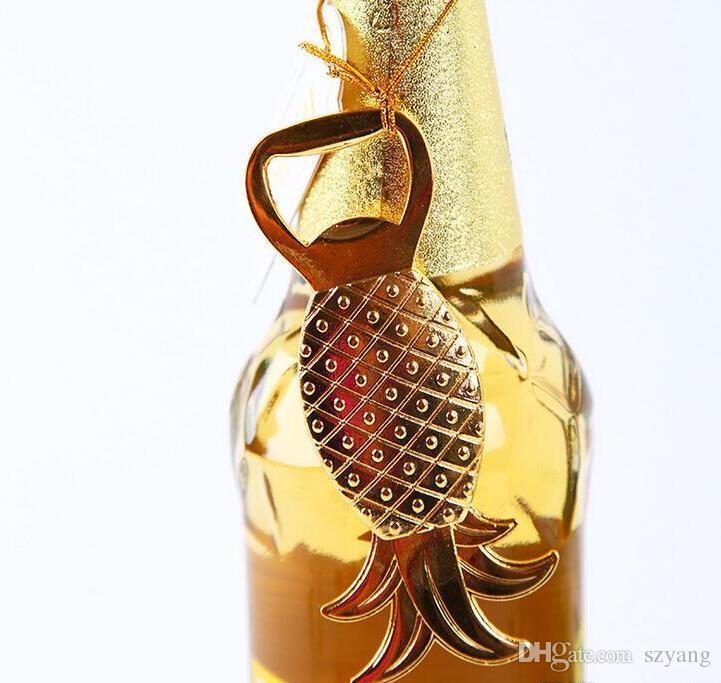 Favores Do Casamento Presentes Abacaxi De Metal De Ouro Abridor De Garrafa De Cerveja Decoração do partido Suprimentos de Ouro Ananas Comosus Tampa Da Garrafa Abridor + DHL Livre