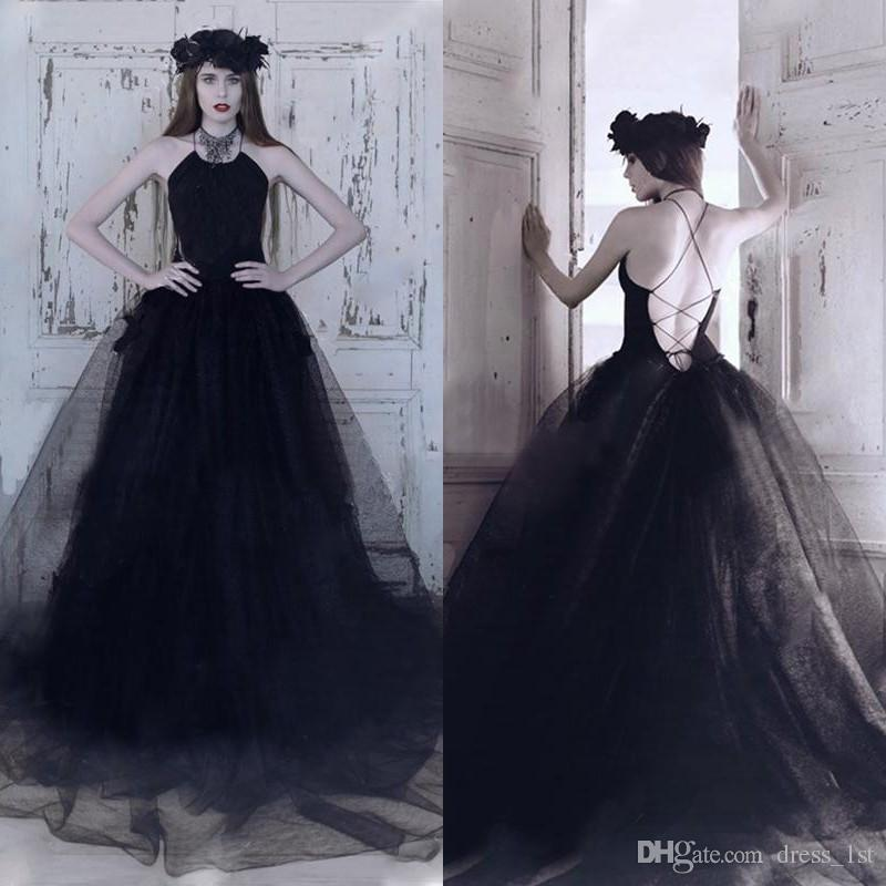 16505b36e5 Discount Vintage 2017 Black Satin And Tulle A Line Wedding Dresses Gothic  Sexy Criss Cross Back Long Bridal Gowns Custom Made China EN10310 2015  Wedding ...