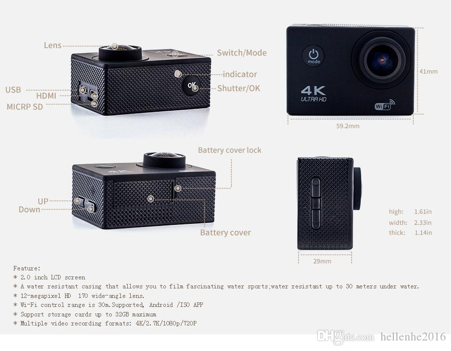 Ultra HD 4K / 30fps Cámara de acción 30m impermeable 2.0 'Pantalla 1080P 16MP Control remoto Deporte Wifi Cámara extrema HD Casco Videocámara coche Cam