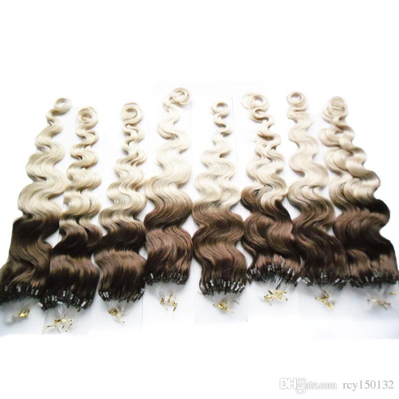 Micro loop human hair extensions body wave T4/613 two tone ombre brazilian hair 800g micro loop hair extensions