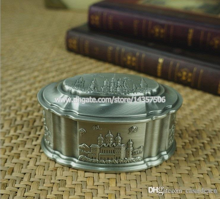 2017 antique silver color metal jewelry box carved castle church