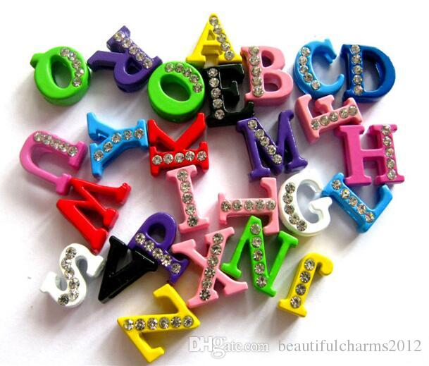 Wholesale 8mm A-Z Colorful Half Rhinestones slide letter diy charms Alphabet accessories fit for 8MM keychains