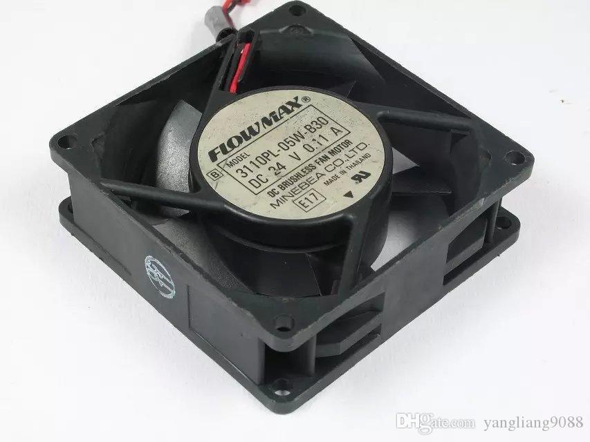 무료 배송 NMB 3110PL-05W-B30 용 DC 24V 0.11A 2 선 2 핀 커넥터 80mm 80x80x25mm 서버 냉각 스퀘어 팬