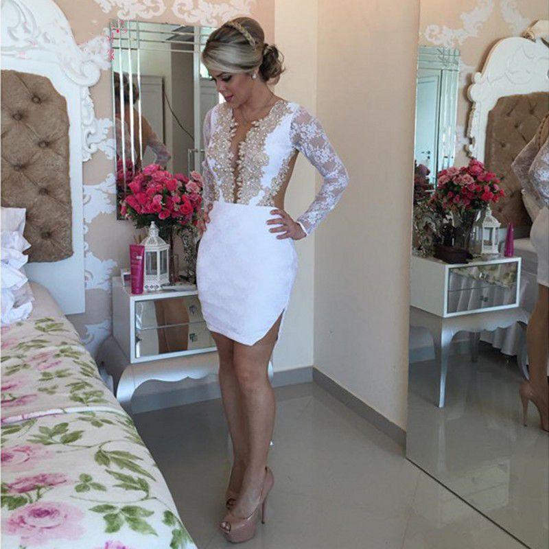 Manches longues blanches robes de cocktail mini-jupe or dentelle appliques robes de soirée robes de soirée vestido de noiva