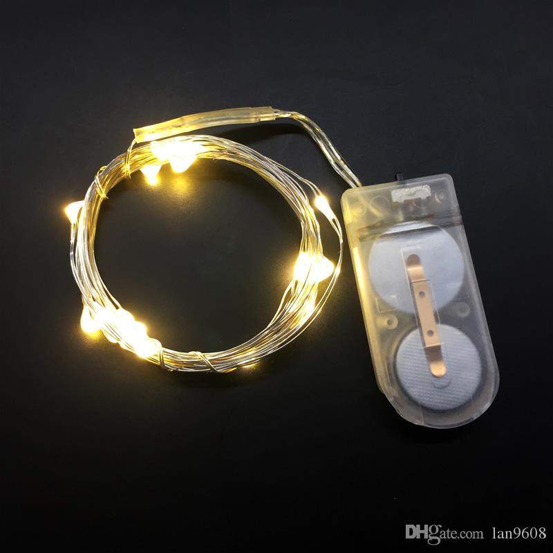 LED lamp string spot copper wire lamp string pink 2m 20 lamp CR2032 button battery box Xmas Deco 3D