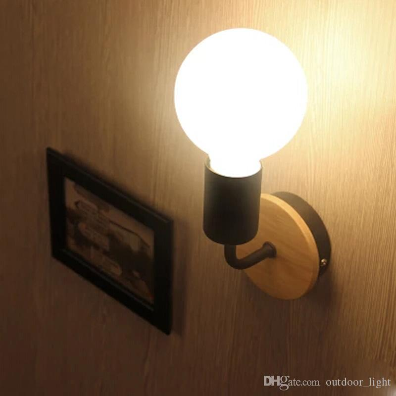 LED E27 Vintage Solid Wood Wall Lamps Bedroom Bedside Lights Retro Industrial Wall Sconces Aisle Light Fixture Abajur Decoration