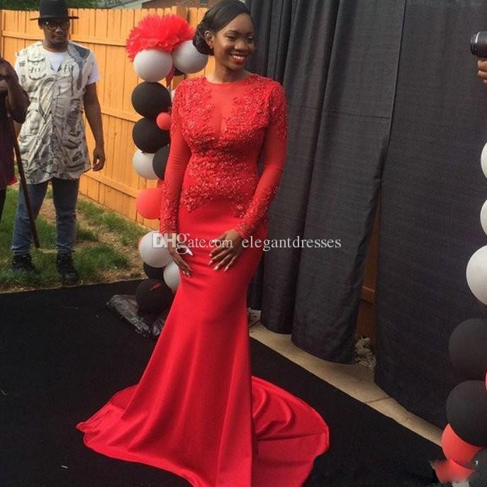 レースアップリケ赤いジュエル新しい有名人ドレス2017 Mermiad妊娠中のフォーマルデザイナー控えめな妖精の背中のない特別な日の女性のためのドレス
