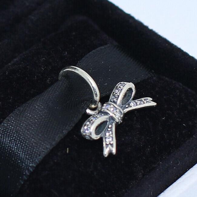 S925 стерлингового серебра сверкающий лук мотаться очарование шарик с ясно Cz подходит Европейский Pandora ювелирные изделия браслеты ожерелья кулон