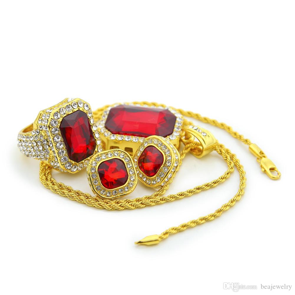 Fashion Jewelry Sets For Men Women Ruby Pendant Colorful Earrings Gold Plated Ring Hip Hop Charm Necklace Set