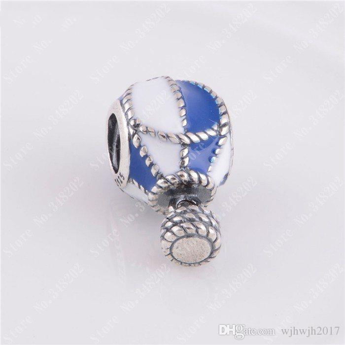 New 925 Sterling Silver Blue & White Enamel Hot Air Balloon Dangle Charms Beads Fits European Bracelet Diy Fine Jewelry Making HB133