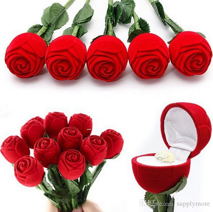 2018 Hot Red Rose Jewelry Box Wedding Ring Gift Case Earrings