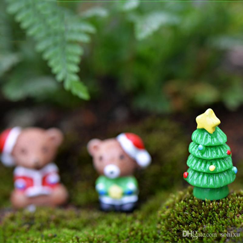 Christmas Succulent Decor.10pcs Christmas Decor Squirrel Xmas Tree Resin Craft Fairy Garden Miniatures Succulent Gnomes Bonsai Tools Terrarium Figurines Jardin Gnomes