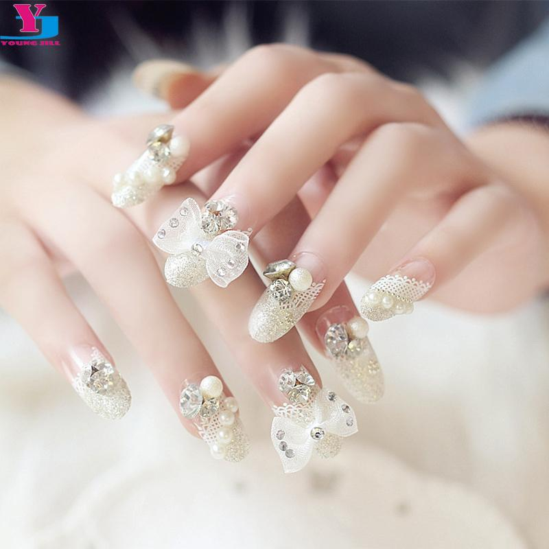 Wholesale Bride 3d Fake Nails Butterfly Full Lace Pearl Pre Design ...