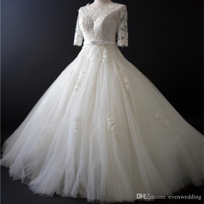 Discount Half Sleeves Lace Tulle A Line Wedding Dress With