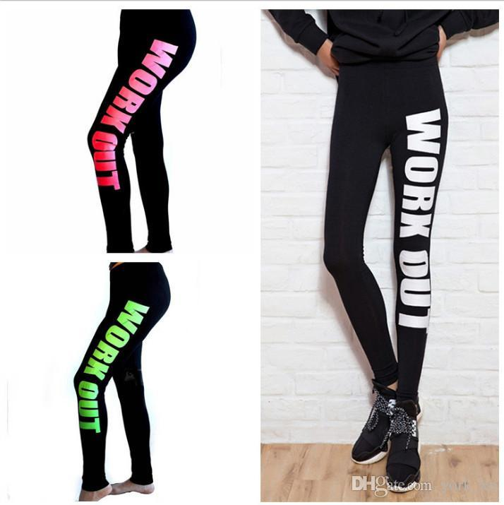 Discount Yoga Leggings Cotton Printed Words Dhl Yoga Pants Sport Leggings  Fashion Fitness Pencil Pant Tights Jeggings Ouc031 From China | Dhgate.Com