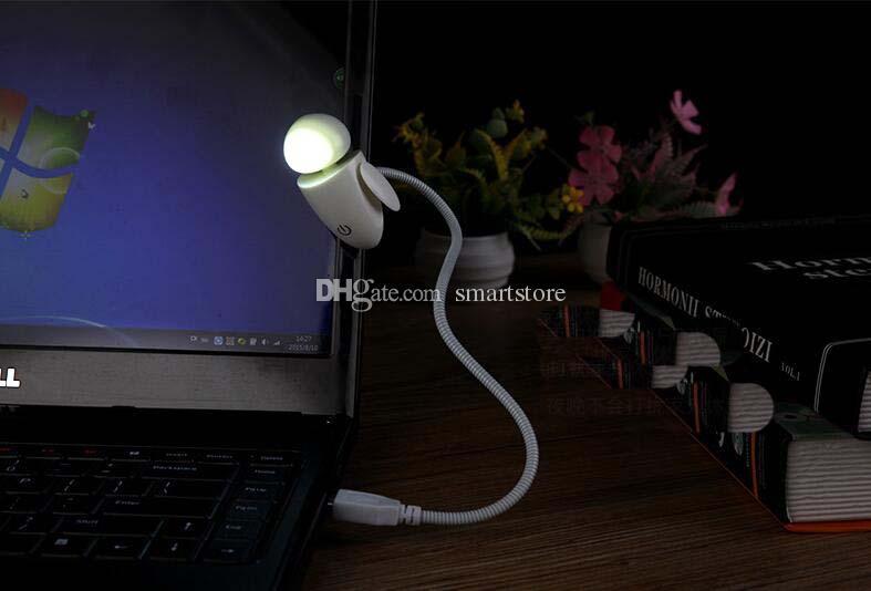 40 unids Flexible Brillante LED USB Mini Robot Lámpara de Luz Para PC Portátil Escritorio de Lectura Amarillo Blanco 0001