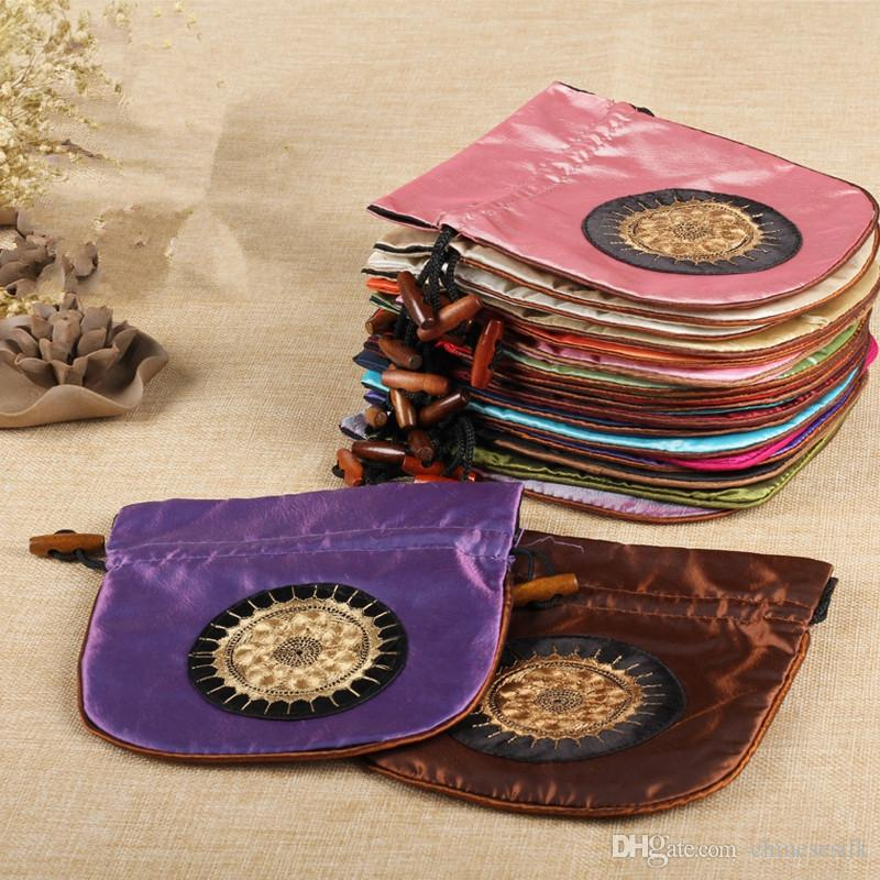 Embroidery Sun Large Drawstring Pouch Chinese Satin Fabric Travel Jewelry Cosmetic Storage Bag Lavender dried flowers Spice Packaging Bags