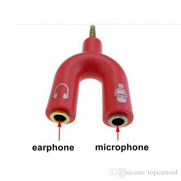 3.5mm Output jack Headphone Audio Splitter Cable Male to 2 Female Earphone and Microphone Audio Adapter Cable U Type for Smartphone MP3 MP4
