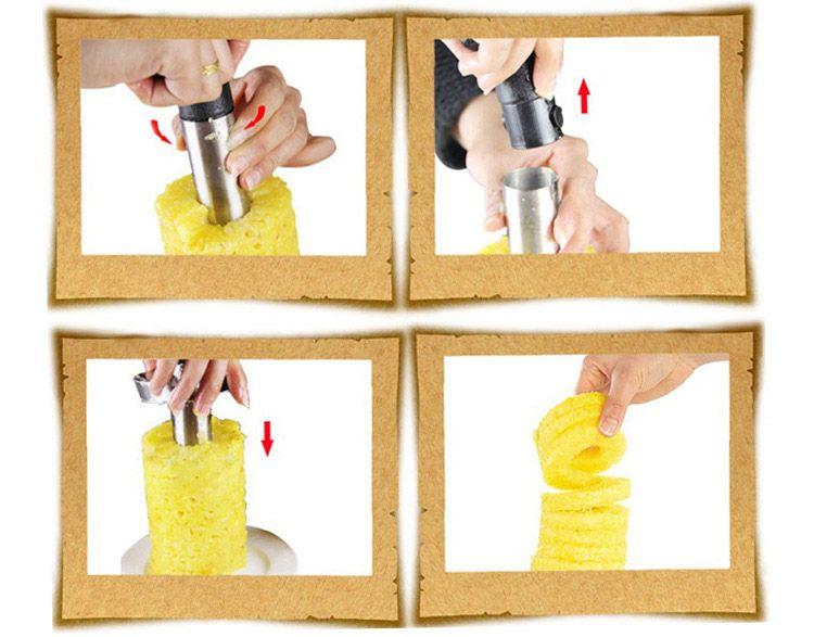 Paslanmaz Çelik Meyve Ananas Tart Dilimleme Soyma Parer Kesici Mutfak Kolay Araçlar