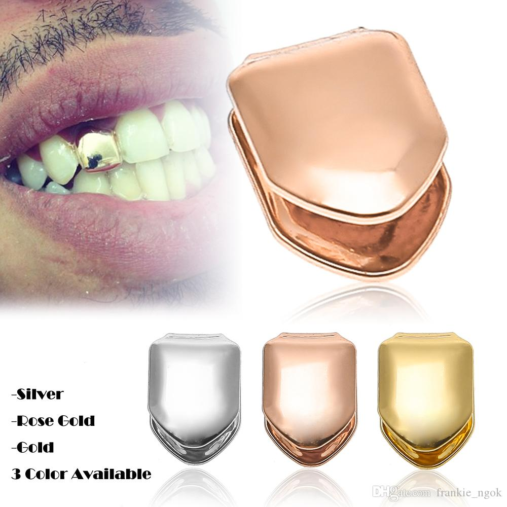 sharp grillz. 2017 bio copper 18k gold plated single tooth grillz cap top \u0026 bottom grills for halloween body jewelry hip hop bling teeth socket party gifts from sharp