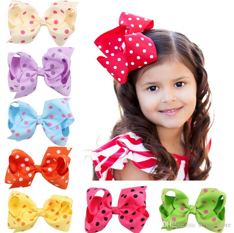 Brand new Wave point bow hair clip head ornaments children hair ornaments FJ095 mix order 60 pieces a lot