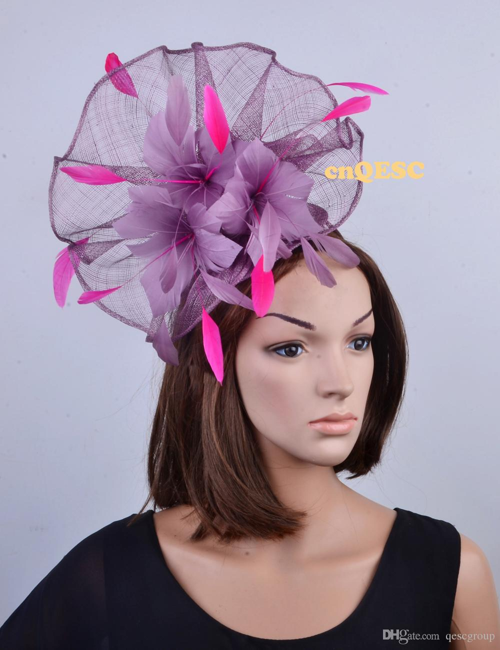 NEW Heather Purple Hot Pink Big Sinamay Feather Fascinator Hat For Kentucky  Derby f19df243498