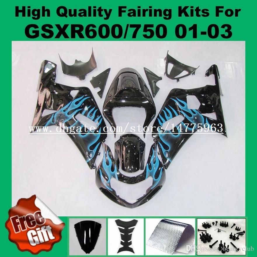 9Gifts fairing kit for SUZUKI GSXR 600 750 2001 2002 2003 GSXR600 GSXR750 01 02 03 K1 GSX-R600 GSX-R750 01-03 Fairing kits black blue flame