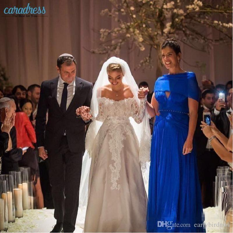 2017 New Elegant Off the Shoulder Una linea Abiti da sposa economici maniche lunghe Abiti da sposa Appliques Pizzo Raso Abiti da sposa vintage