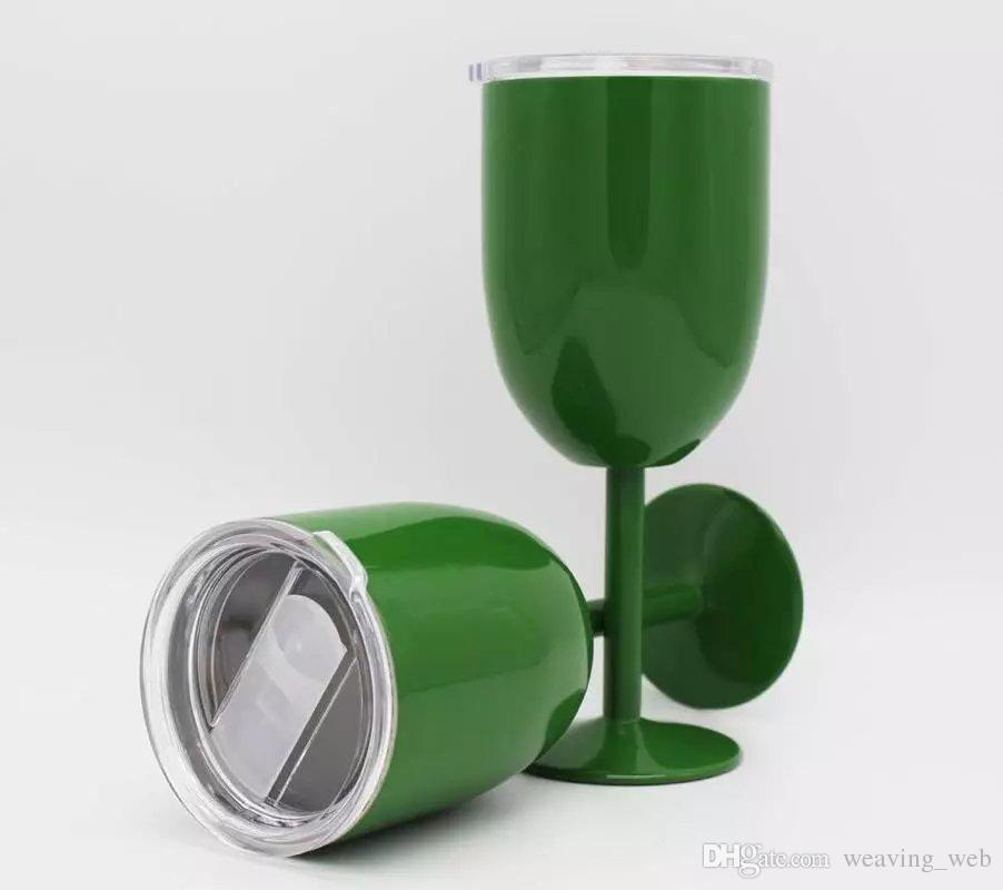 DHL OR FEDEX 10oz goblet Wine Glass Vacuum insulation mug Double Wall Insulated Metal Goblet With Lid Red Wine Glasses