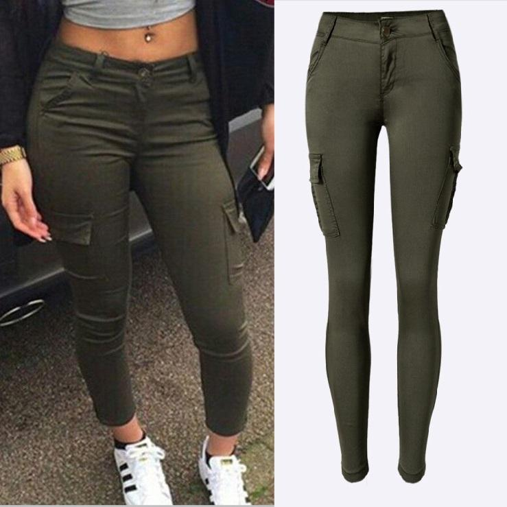 4f97959742065 Streetwear Army Green Jeans Women Sexy Low Rise Ladies Skinny Pencil ...