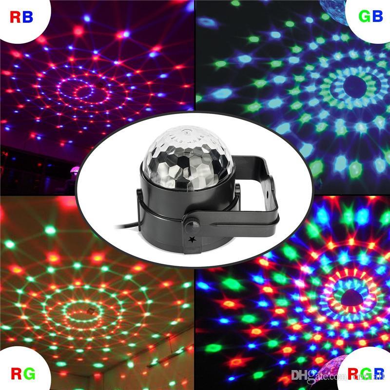 Luces de fiesta de bola mágica LED 3W RGB Sonido estroboscópico activado Luces de escenario para DJ con control remoto para la fiesta de discoteca Navidad Boda KTV Bar Club Pub