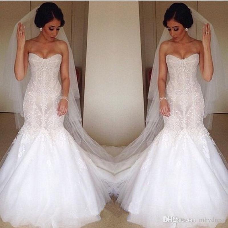 Trumpet Lace Wedding Dress Elegant 2017 Sweetheart Beaded