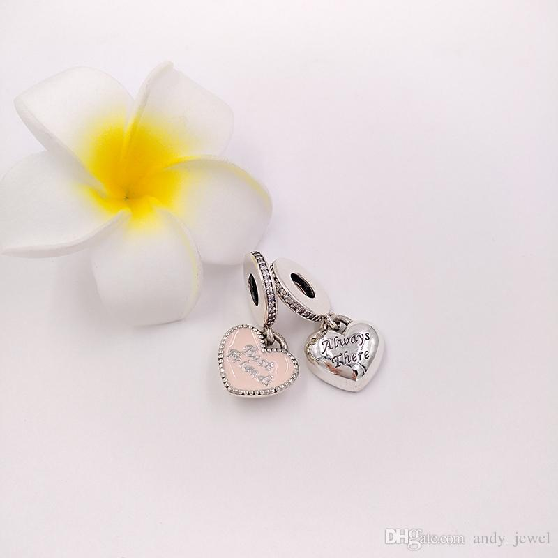 정통 925 개 스털링 실버 비즈 가장 친한 친구 매력 핑크의 매력은 유럽 판도라 스타일의 보석 팔찌 목걸이 791950CZ에 적합