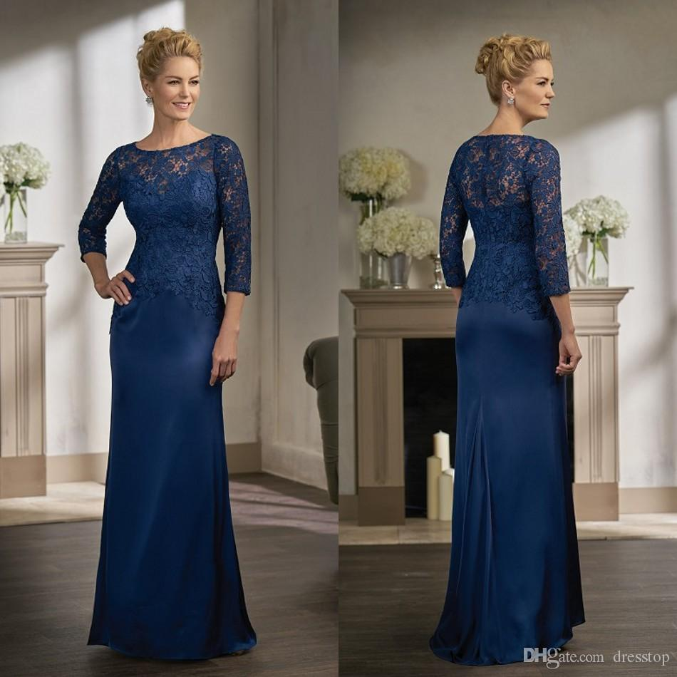 Navy Blue Lace Mother Of The Bride Dresses With Long