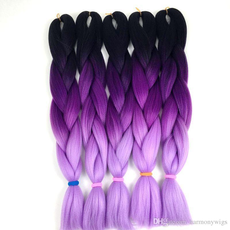 Ombre Braiding hair crochet braids hair Bluk 24inch 100G three tone Kanekalon Synthetic Jumbo Braiding Hair extensions