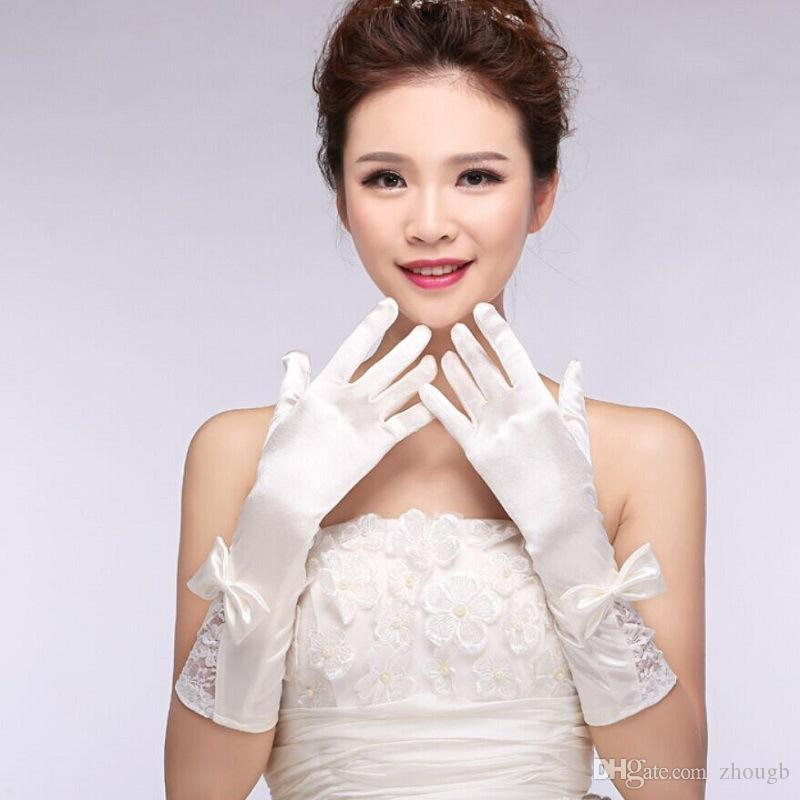 White Lace Fingerless Appliques Below Elbow Short thread Gloves Short Bridal Wedding Gloves