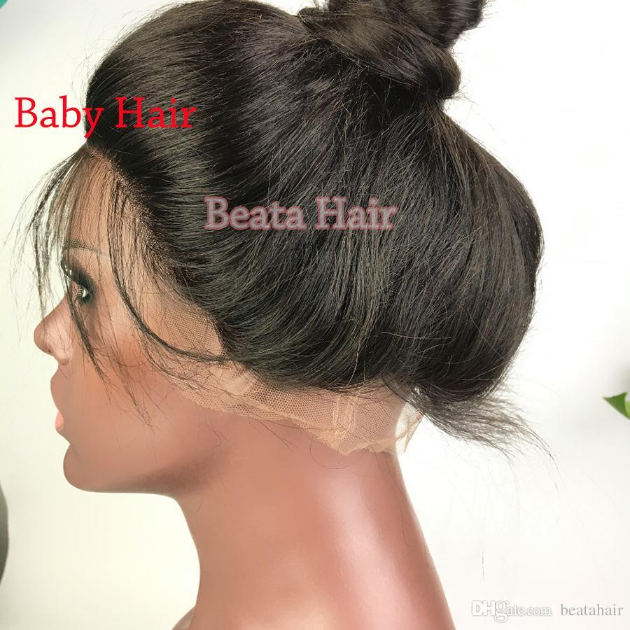 Bythair Pelucas delanteras del cordón del pelo humano para las mujeres negras Peluca delantera del cordón rizado Peluca llena del cordón del pelo de la Virgen con los nudos blanqueados del pelo del bebé