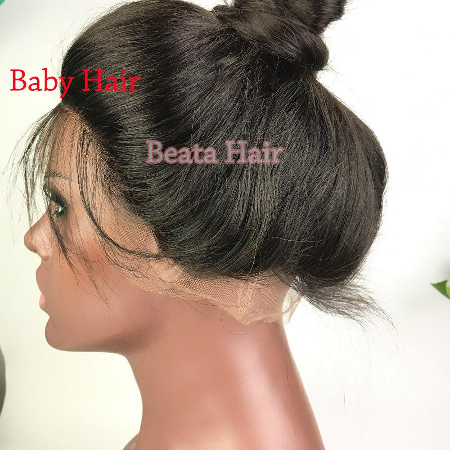 Bythair Wellenförmige Glueless Peruanische Volle Spitze Menschenhaarperücken Mit Dem Babyhaar Natürliche Farbe Nicht Remy Haar Lace Front Perücke für Schwarze Frauen