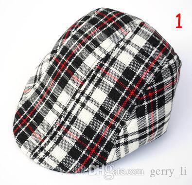 Großhandel 10 stücke Unisex Baskenmütze Kinder Grid Design Berets Hüte Kinder Frühling Herbst Caps 2-6 T BL011