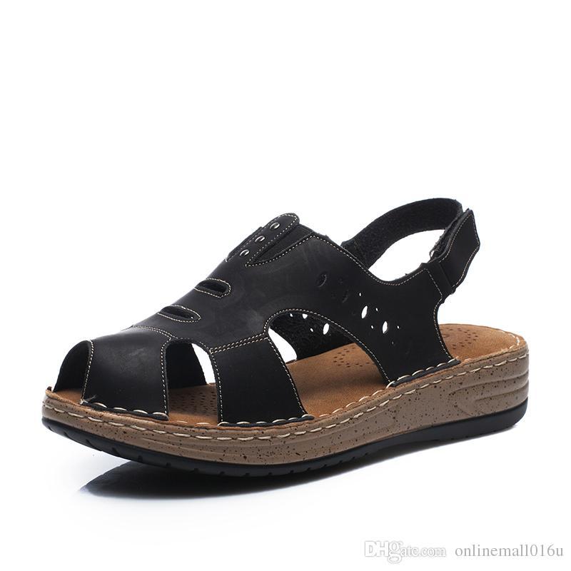 Cuir Sandales Femmes Casual D'été Marque Chaussures En Toe Dames Open Sandals 6b7fYvgy