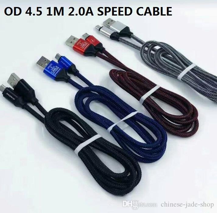 전화 를위한 1M 3 피트의 2.0A 속도 충전 OD4.5 금속 Adatper 생선 뼈 마이크로 USB 케이블 나일론 꼰 코드 와이어 / 많은
