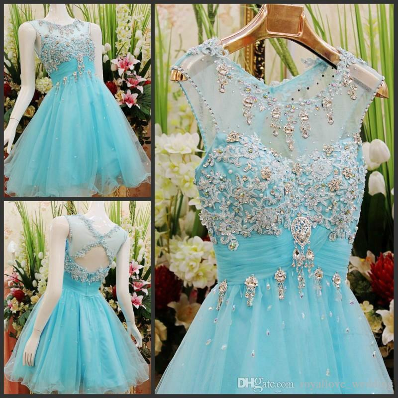 Hot sale Prom Party Dresses Crystal Applique short Homecoming Dresses 2017 Light Blue Sheer Graduation Dresses For Girls
