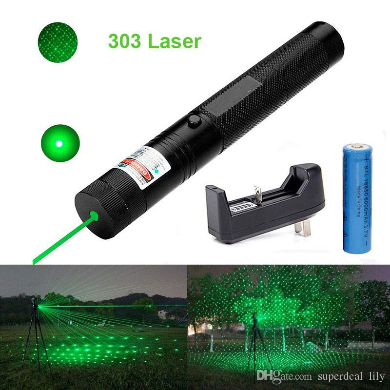 303 Green Laser Pointer Pen 532nm 5mw Adjustable Focus & Battery + Charger US Adapter Set